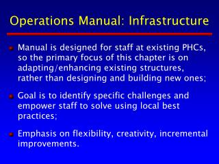 Operations Manual: Infrastructure