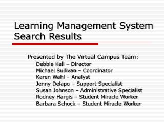 Learning Management System Search Results