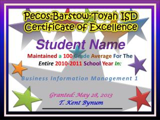 Pecos-Barstow-Toyah ISD Certificate of Excellence