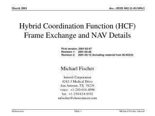 Hybrid Coordination Function (HCF) Frame Exchange and NAV Details