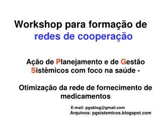 Workshop para formação de  redes de cooperação