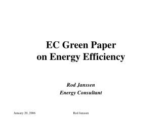 EC Green Paper  on Energy Efficiency
