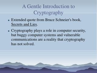 A Gentle Introduction to Cryptography