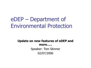 eDEP – Department of Environmental Protection