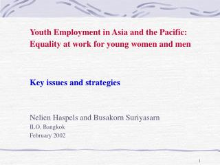 Youth Employment in Asia and the Pacific: Equality at work for young women and men