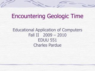 Encountering Geologic Time