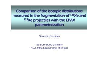 Daniela Henzlova GSI-Darmstadt, Germany NSCL-MSU, East Lansing, Michigan