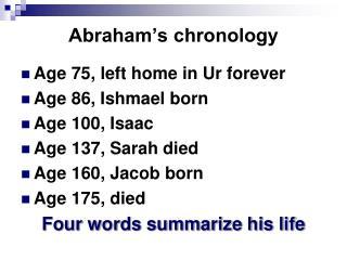 Abraham's chronology