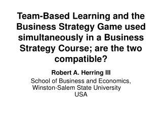 Robert A. Herring III School of Business and Economics, Winston-Salem State University USA