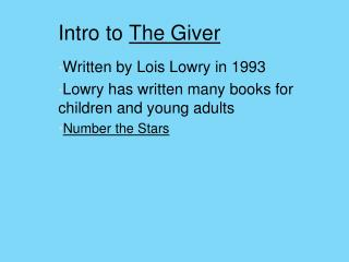Intro to  The Giver