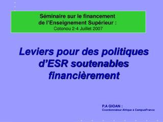 Leviers pour des politiques d'ESR soutenables financièrement