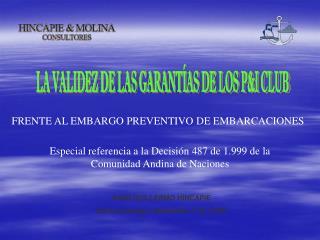 LA VALIDEZ DE LAS GARANTÍAS DE LOS P&I CLUB
