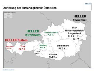 Aufteilung der Zuständigkeit für Österreich