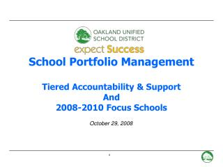 School Portfolio Management  Tiered Accountability & Support And 2008-2010 Focus Schools