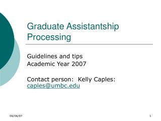Graduate Assistantship Processing