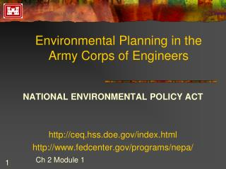 Environmental Planning in the Army Corps of Engineers