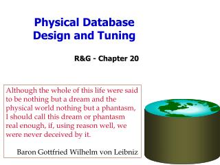 Physical Database Design and Tuning