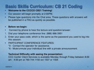 Basic Skills Curriculum: CB 21 Coding