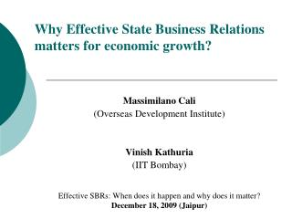 Why Effective State Business Relations matters for economic growth?