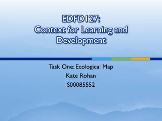 EDFD127: Context for Learning and Development