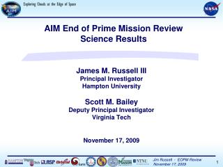 James M. Russell III Principal Investigator Hampton University Scott M. Bailey