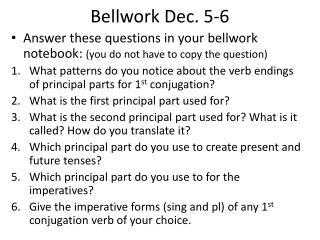Bellwork  Dec. 5-6