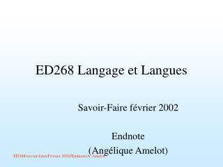 ED268 Langage et Langues
