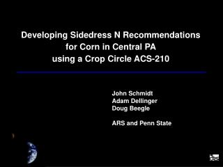 Developing Sidedress N Recommendations for Corn in Central PA  using a Crop Circle ACS-210