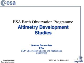 ESA Earth Observation Programme  Altimetry Development Studies