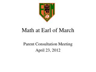 Math at Earl of March