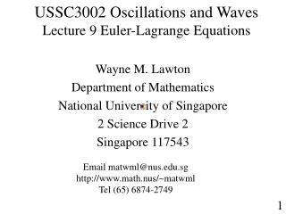 USSC3002 Oscillations and Waves  Lecture 9 Euler-Lagrange Equations