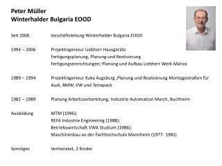 Peter Müller Winterhalder Bulgaria  EOOD