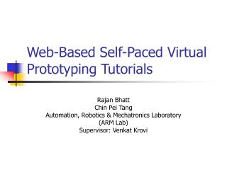 Web-Based Self-Paced Virtual Prototyping Tutorials