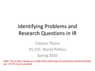 Identifying Problems and Research Questions in IR