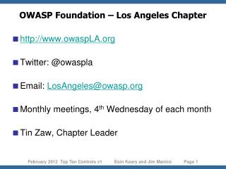 OWASP Foundation – Los Angeles Chapter