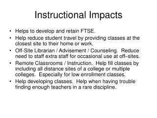 Instructional Impacts