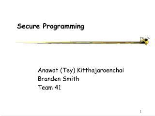 Secure Programming