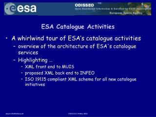 ESA Catalogue Activities