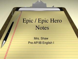 Epic / Epic Hero Notes