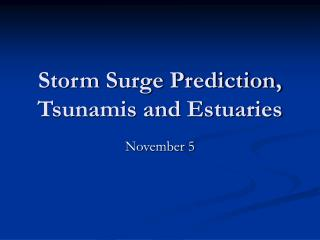 Storm Surge Prediction, Tsunamis and Estuaries