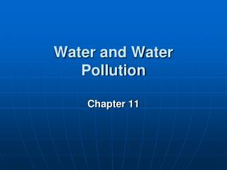 Water and Water Pollution