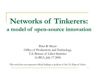 Networks of Tinkerers: a model of open-source innovation