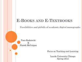 E-Books and E-Textbooks