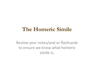 The Homeric Simile