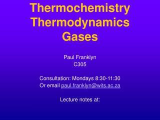 Thermochemistry Thermodynamics Gases