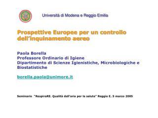 Prospettive Europee per un controllo dell'inquinamento aereo Paola Borella