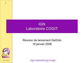 IGN  Laboratoire COGIT