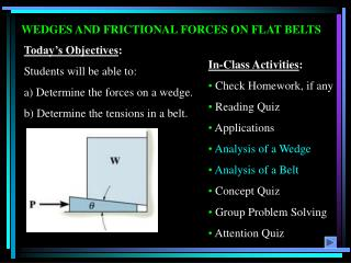 WEDGES AND FRICTIONAL FORCES ON FLAT BELTS