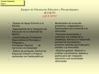 Equipos de Orientación Educativa y Psicopedagógica (E.O.E.P.) ¿QUÉ SON?