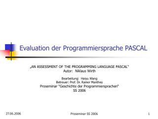 Evaluation der Programmiersprache PASCAL